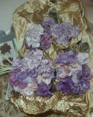 Box of Antique French Silk Violets Real Victorian Millinery Flowers Purple Lilac