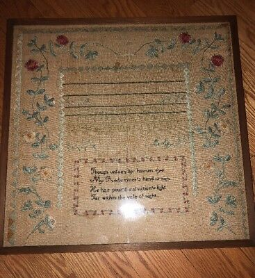 Early 19th Century Alphabet Sampler Bible Verse Flowers Needlepoint