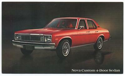 Factory Car dealer advertising postcard  1978 Chevrolet Nova Custom 4-door Sedan
