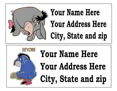 30 Eeyore Or Other Disney Return Address Labels