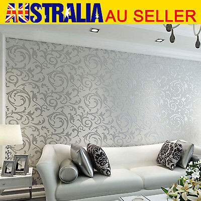 European Simple Luxury Damask Embossed Wallpaper Roll For Wall Decosration AU