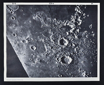 1960 Lunar Moon Map Photo Craters - Pic Du Midi Observatory Plate P6b - Astonomy