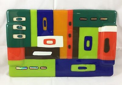 Fused Coloured Glass Cheese Sushi Hor D'oeuvres Serving Platter