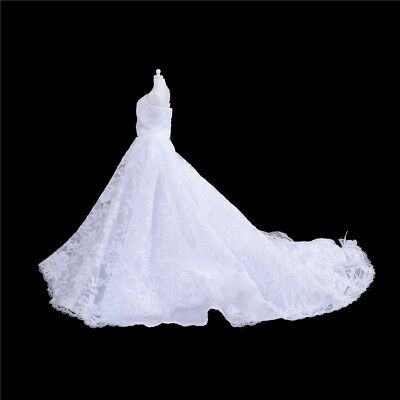 Handmade White Doll Wedding Dress With  For  1/6 Doll Clothes Gown HU