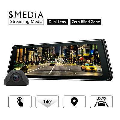 Eonon 9.88'' Full Touch Screen Dual Lens Mirror Dash Cam Backup Camera Kit LDWS