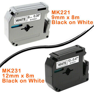 Compatible Brother M-K221 MK231 Tape 9mm, 12mm Black On White Label PT70 PT100