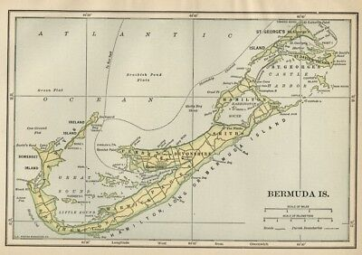 Bermuda Islands Map: SMALL Authentic 1910 (Dated) Cities, Towns, Topography