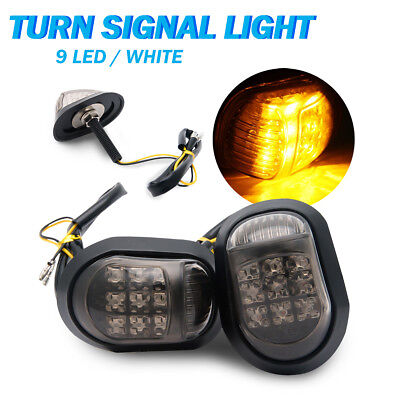2Pcs Universal Motorcycle Flush Mount LED Turning Signal Indicator Amber Lights