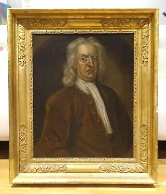 Large 18th Century English Master Portrait Sir Isaac Newton Antique Oil Painting