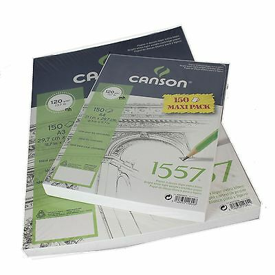 Drawing sketching paper Canson 1557 pack 150 sheet bright white cartridge paper