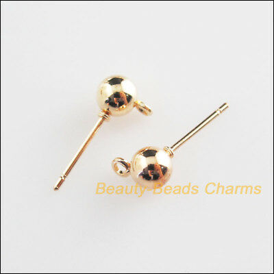 10Pcs Champagne Gold Round Ball Wire Earrings Hooks Findings 5x16mm