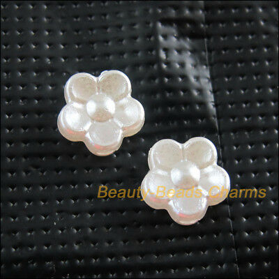 35Pcs White Plastic Acrylic Flower Star Spacer Bead Charms 8.5mm