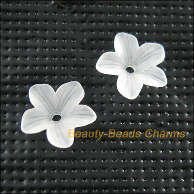70Pcs White Plastic Acrylic Flower Star Spacer End Bead Caps Charms 11mm
