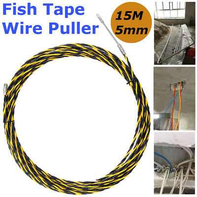 15M 5mm Cable Wire Puller Conduit Snake Fish Tape Cable Rodder Tested 700KG