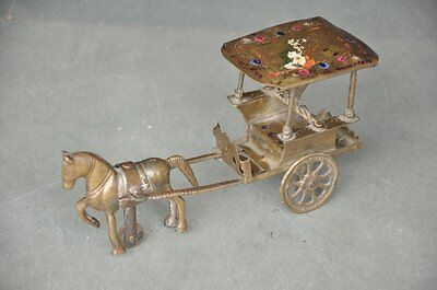 Old Brass Handcrafted Solid Horse Cart Figurine , Rich Patina