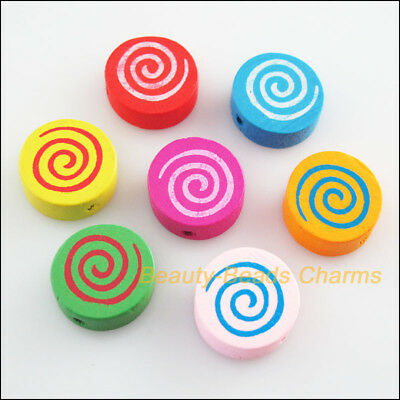20Pcs Mixed Craft Wooden Round Flat Spacer Beads Charms 16mm