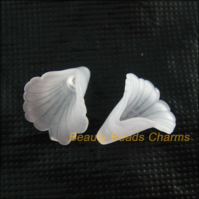 30Pcs White Acrylic Plastic Horn Flower Spacer Beads End Caps Charms 18mm