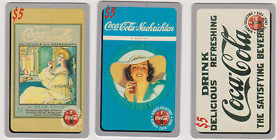 Lot of 3 $5 Coca Cola Phone Cards #'d Sprint US 1995 COKE Limited Phonecards