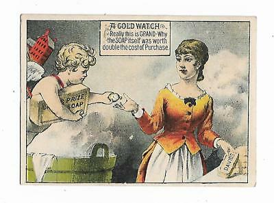 Old Trade Card David's Prize Soap New York Gold Watch Presents HOUSE Cherub
