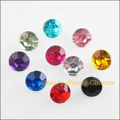 80Pcs Mixed Acrylic Plastic Round Point Back Jewelry Accessory 6mm