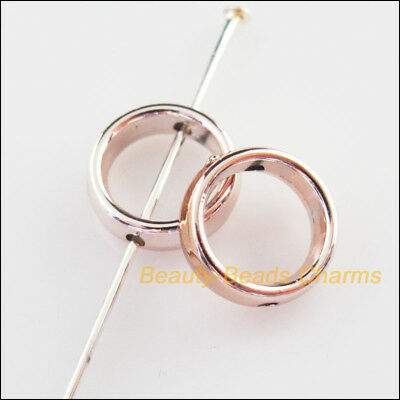 15Pcs Champagne Gold Acrylic Round Spacer Beads Frame Charms 12mm