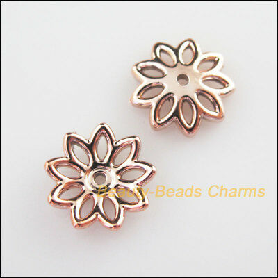 15Pcs Champagne Gold Acrylic Flower Spacer Beads End Caps Charms 12.5mm
