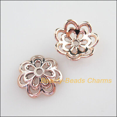 15Pcs Champagne Gold Acrylic Flower Spacer Beads End Caps Charms 14mm