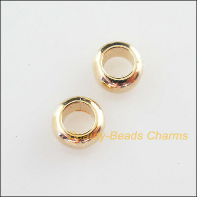70Pcs Champagne Gold Acrylic Round 3.5mm Hole Spacer Beads Charms 6mm