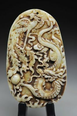 Exquisite Chinese old green jade Carved *dragon/Phoenix* pendant R37