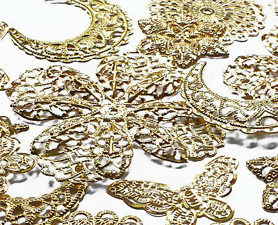 20 Mix Gold Plated Filigree Stamped Embellishment Shapes, Flower Butterfly Moon