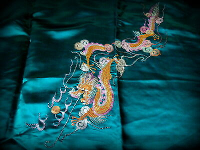 Vintage Chinese Emerald Green Silk Fabric with Embroidered Dragon