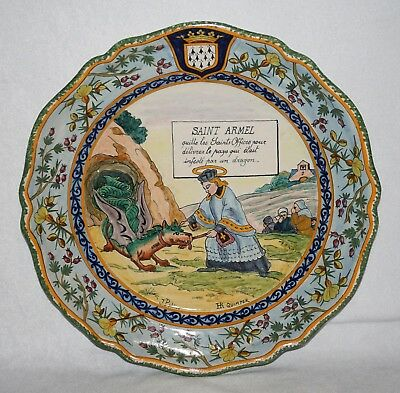 """French H R Quimper Only St Armel & the Dragon 12.25"""" Charger/Platter"""