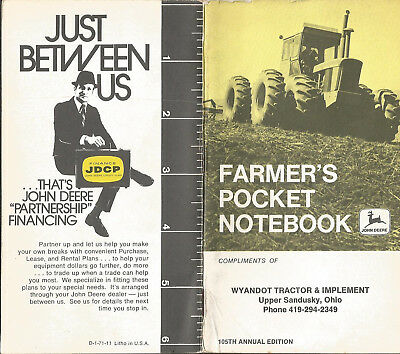 John Deere Farmer's Pocket Notebook - Upper Sandusky, Oh - 1971 - Unused