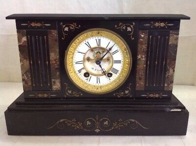 Vintage Antique Heavy Black Slate/ Marble Mantle Clock Key Wind Porcelain Face