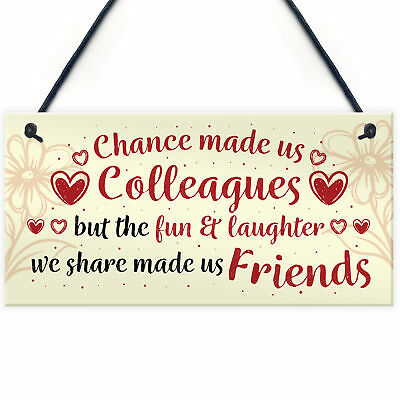 Chance Made Us Colleagues Hanging Work Friend Plaque Thank You Leaving Job Gift