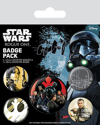 Button Badge 5er Pack STAR WARS - Rebels - Rogue One 1x 38mm & 4x 25mm BP80561