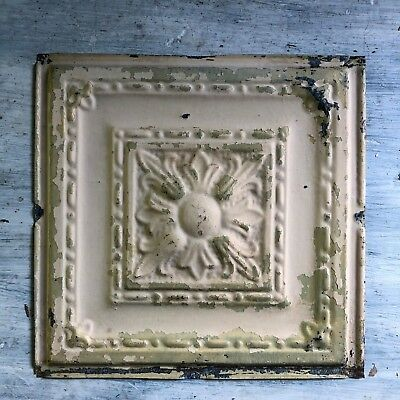 1890's 12 x 12 Antique Tin Ceiling Tile Tan Sage Green Metal Reclaimed 370-18