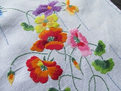 Vintage Hand Embroidered Table Cloth-PRETTY RAISED FLORAL'S
