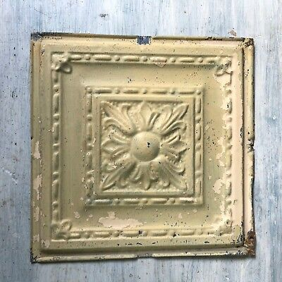 1890's 12 x 12 Antique Tin Ceiling Tile Tan Sage Green Metal Reclaimed 374-18