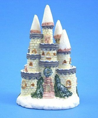 """F013A Small Winter Snow Castle Figurine Sculpture 3"""" Painted Resin New Free S/H"""