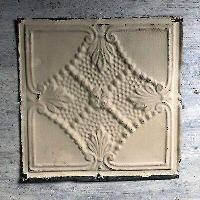 1890's 12 x 12 Antique Tin Ceiling Tile Ivory  Metal Reclaimed 377-18