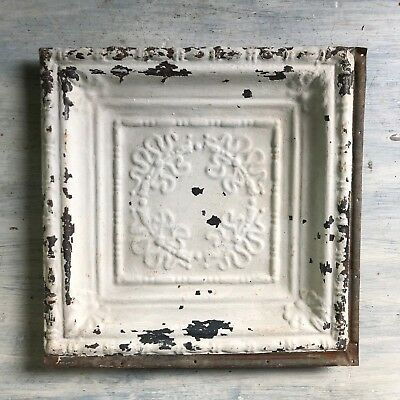 1890's 12 x 12 Antique Tin Ceiling Tile Antique White Metal Reclaimed 379-18