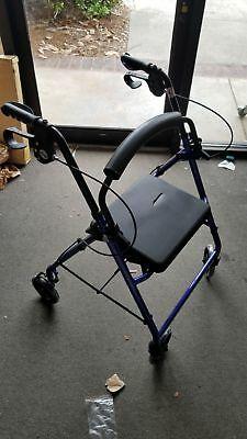 """Drive Blue Aluminum Rollator with Padded Seat, 6"""" Wheels, Lock Loops R726-BL"""