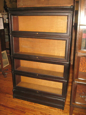 WE SHIP! Antique Macey/Globe Dark Mahogany 4 Stack Barrister Bookcase Book Shelf