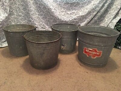 Lot of 4 Galvanized Buckets Pails Wheeling 14 and 10 quart