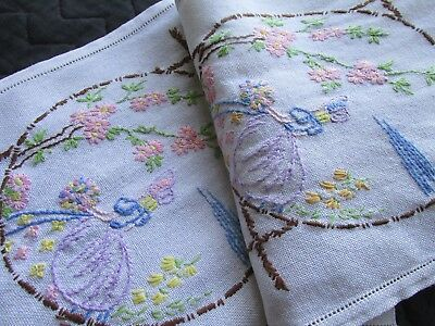 Vintage Hand Embroidered Table Runner-PRETTY CRINOLINE LADIES & FLORAL'S