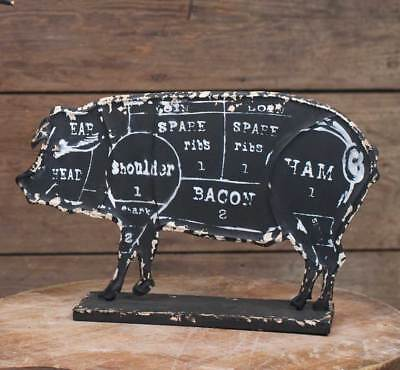 Butcher's Pork Pig Chart Sign - Embossed Metal - Farmhouse Country Kitchen