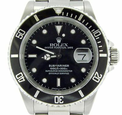 acaaa3b1ac7b Mens Rolex Submariner Stainless Steel Watch Black Dial   Bezel Date Sub  16610