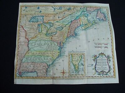 1763 Kitchin Map Colonial North America United States Canada English Colonies