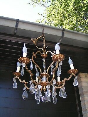 "Very attractive vtg French 6 lt ""cage"" - chandelier with shining drops ! check !"
